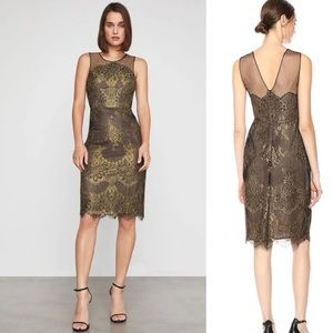 BCBGMaxAzria Black Gold Lace Sheath Cocktail Dress